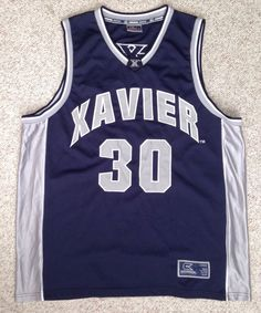 Mens (Adult XL)  XAVIER MUSKETEERS BASKETBALL JERSEY Navy/Gray/White SEWN xu #30 #ColosseumAthletics #XavierMusketeers