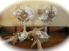 Rustic wedding glasses  champagne- burlap and lace  -wedding cake cutting serving set