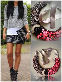 Coral and grey z'ett bijou statement necklace