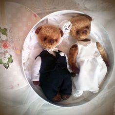 Купить Жених и невеста мишки тедди - коричневый, мишка, жених, невеста, свадебные мишки