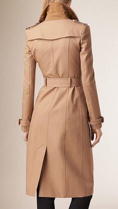 Burberry Honey Embroidered Collar Cotton Trench Coat - A close-cut trench coat in cotton. The design features an embroidered collar inspired by the A/W15 bohemian-themed runway collection.