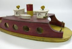 Vintage Wooden Ferry Boat Toy