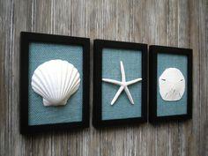 Cottage Chic Set of Beach Wall Art, Art, Sea Shells Home Decor, Beach House Wall…