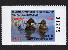 1988 Canvasbacks  Artist: John Warr Alabama Dept of Conservation and Natural Resources Stamp