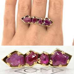 Our new SAMSARI ring in 14K recycled yellow gold with 4.59 carats of Rubies. Just gorgeous!