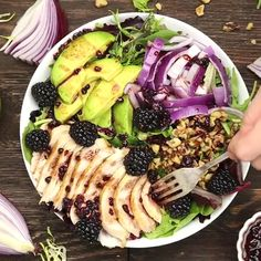 This blackberry chicken salad is full of fresh and juicy blackberries and drizzled over with a blackberry balsamic vinegar dressing. Load on the roasted chicken to make the salad a meal. Blackberry Chicken Salad This Seafood Recipes, Chicken Recipes, Cooking Recipes, Healthy Recipes, Chicken Salads, Cooking Pork, Fresh Vegetables, Fruits And Veggies, Balsamic Vinegar Dressing