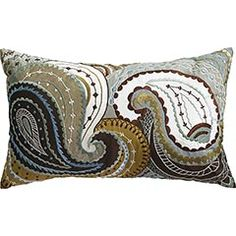 Embroidered Paisley Pillow - Blue #throw_pillow $34.95