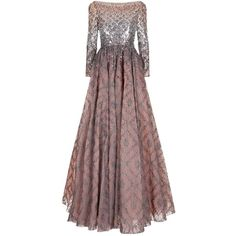 Jenny Packham Embellished Lace Gown ($7,585) ❤ liked on Polyvore featuring dresses, gowns, sequin dress, red carpet gowns, red sequin gown, red carpet dresses and lace evening gowns