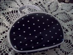 Vintage Black and White Polka Dot Cosmetic Bag by kd15 on Etsy