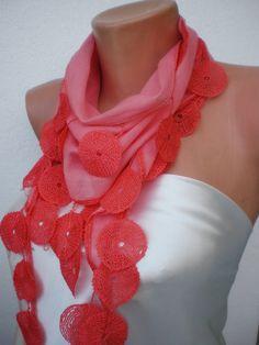 new fashion- coral scarf- $17.90