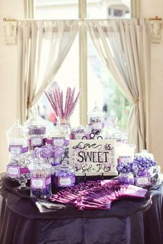 love is sweet purple candy table Purple Candy Buffet, Candy Buffet Tables, Dessert Buffet, Lolly Buffet, Candy Bar Wedding, Wedding Desserts, Our Wedding, Wedding Ideas, Purple Wedding Favors
