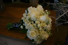 all white textural bouquet with rhinestone elements