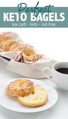 Keto Fathead Bagels - coconut flour baking powder xanthan gum pre-shredded part skim mozzarella eggs optional Everything Bagel topping (sesame seeds poppyseed dried minced onion coarse salt butter) Keto Bagels, Low Carb Bagels, No Bread Diet, Best Keto Bread, Bagel Toppings, Low Carb Breakfast, Breakfast Recipes, Breakfast Casserole, Breakfast Ideas
