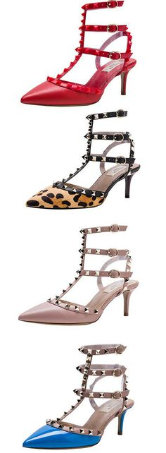 7e3da666414ac Kaitlyn Pan Pointed Toe Studded Slingback Kitten Heel Leather Pumps in  Different Colors. Women Dress