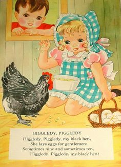 Page From Vintage Linen Nursery Rhymes Book/everyone needs a chicken in the nursery :)