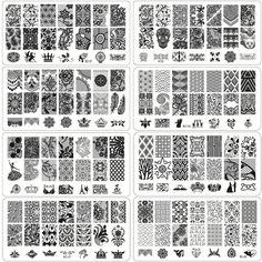 1 Hoja de Encaje y Flores Serie Stamping Nail Art Placa de La Imagen, 6*12 cm de Acero Inoxidable Plantilla Stencil Herramientas de la Manicura de Uñas