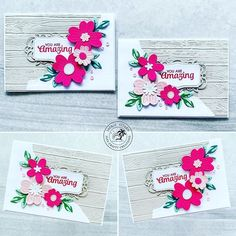 """Same same but different 🙃 same layout but different orientation and die cuts. Using the PIERCED BLOOM DIES I have created a """"lefty"""" and a…"""
