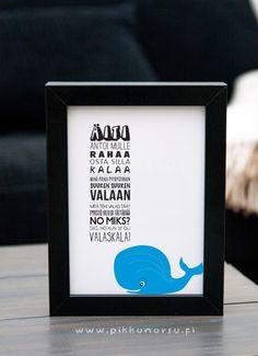 Valaslaulu. Kortti valaan kuvalla tai ilman. Postcard 4,20 €, poster from 20,90 €.