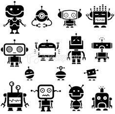 Robot Symbols 2 Royalty Free Stock Vector Art Illustration