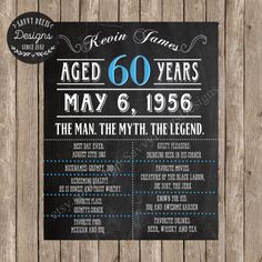 Celebrate an upcoming Vintage Dude birthday with my custom Man Myth Legend chalkboard birthday sign! This will surely be a conversation piece among friends, and a great backdrop for photo opportunities! Good for ages 21-101! I have a Jack Daniels Version of this sign!! Heres a link to view the item: https://www.pinterest.com/pin/164522192613492420/ Send me a custom request for this! You will receive a JPG & PDF file which can be printed onto a large poster size ...