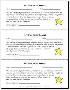 Dry Erase Marker Request freebie