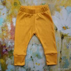 Baby Girl Leggings/Baby Boy Leggings in Solid Golden Yellow/Toddler Soft Stretchy Pants to Match All Outfits/3 Inch Cuff for Growth by SewingforSunshine on Etsy