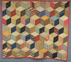 patchwork quilt tumbling blocks piece hanging Civil War Era antique original  #quilt #handmade, eBay, pentiques