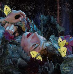 """Kari-Lise Alexander's """"Current Within"""" giclee print. This is a very limited edition of only 10 prints that are hand embellished and signed. Print size is Ophelia Painting, Jace, Street Art, Photoshop, Art Et Illustration, Realism Art, New Print, Face Art, Art Inspo"""