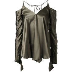 Christopher Esber unravelled sleeve blouse ❤ liked on Polyvore featuring tops, blouses, green, sleeve blouse, sleeve top, green top, green silk blouse and christopher esber - short blouse, white crossover blouse, white blouse black collar *ad