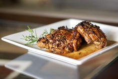 Chicken Balsamico made with bone-in chicken thighs cooked in a balsamic white wine sauce with fresh chopped rosemary.