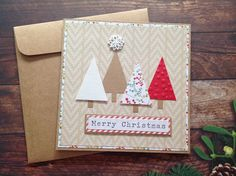 Christmas cards, Handmade christmas card, Christmas tree card, homemade cards, Homemade Christmas card by PinkyPromiseBargains on Etsy