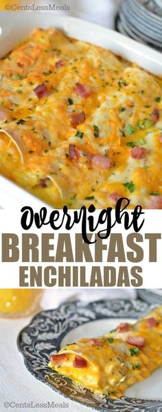 If you're looking for a great breakfast idea to feed a crowd perhaps a make ahead holiday breakfast recipe or just wanting to try something new this Overnight Breakfast Enchiladas Recipe is perfect! It's easy to make can be made ahead and it's a fun twist Brunch Ideas For A Crowd, Great Breakfast Ideas, Breakfast For A Crowd, Food For A Crowd, Best Breakfast, Breakfast Pizza, Paleo Breakfast, Mexican Breakfast, Morning Breakfast