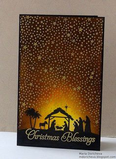 handmade Christmas card ... silhouette Nativity Scene with enormous sky of gold embossed stars using Tiny Stars background stamp by Hero Arts ... luv how she made the scene look like its glowing ... luv it!