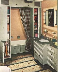 "vintage-peach-and-grey-bathroom - love the ""built in"" tub/shower"