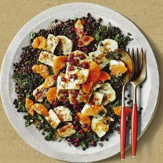 Warm lentil, halloumi and clementine salad, a delicious recipe from the new M&S app.