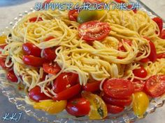 Click**Share** to **Save** this Yummy Recipe to your Timeline.  Kim sent this to me: This was the side dish my wonderful MIL, Seleta, made tonight. She loves trying out new recipes from those cooking shows!  SUMMER GARDEN PASTA...  Ingredients 4 pints cherry tomatoes, halved Good olive oil 2 tablespoons minced garlic (6 cloves) 18 large basil leaves, julienned, plus extra for serving 1/2 teaspoon crushed red pepper flakes Kosher salt 1/2 teaspoon freshly ground black pepper 1 pound dried ...