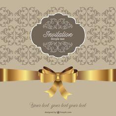 Invitation golden ribbon retro style