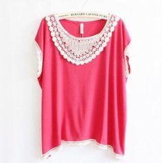 Blusa gripi crochê rosa pink