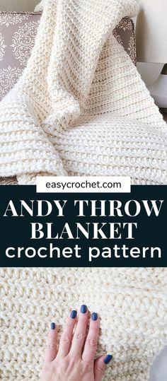Beginner Crochet Projects, Crochet For Beginners Blanket, Beginner Crochet Blankets, Crocheted Baby Blankets, Crochet Newborn Blanket, Knit Stitches For Beginners, Easy Beginner Crochet Patterns, Crotchet Blanket, Modern Crochet Blanket