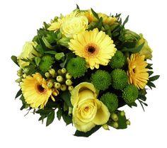 Biedermeier bloemstuk gele bloemen