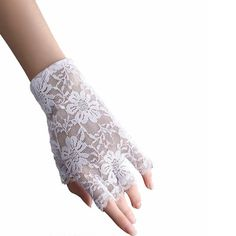 White Lace Open Finger Short Wedding Bridal Formal Dress Gloves SKU-11201050