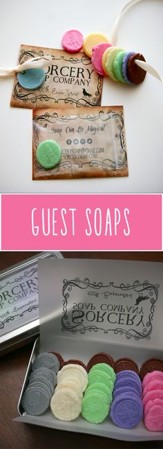 Soap Medallions - hand crafted cold process guest soaps | http://sorcerysoap.com/product/soap-medallions-set-one/