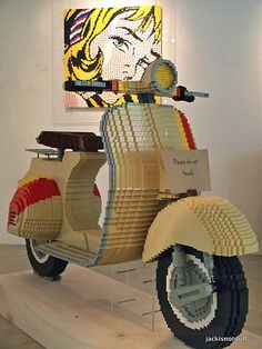 """Art, a piece at a time"" by Eugene Tan, Life-size Vespa scooter made entirely out of Lego bricks Lego Design, Lego Hacks, Van Lego, Lego Sculptures, Lego Boards, Amazing Lego Creations, Lego Models, Lego Building, Lego Brick"