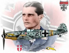 Egon Albrecht-Lemke. Credited with 25 victories. 23 of those were flying Messerschmitt BF110 heavy fighters with II./ZG1. July 1944, his unit was re-equipped with the BF109 G fighter (shown), and redesignated III./JG76. August 1944 on return from a mission, he was intercepted by USAAF Mustangs. He managed to bail out of his stricken aircraft, but was dead when found on the ground. Ww2 Aircraft, Fighter Aircraft, Military Aircraft, Luftwaffe, Air Fighter, Fighter Pilot, Plane And Pilot, Ww2 Planes, Aircraft Design