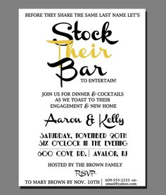 stock the bar invitations + new home