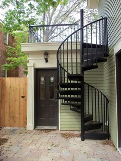 Outdoor Spiral Staircase Design Ideas 2 - Trend Home Spiral Staircase Outdoor, Outdoor Stairs, Deck Stairs, Modern Staircase, House Stairs, Spiral Staircases, Metal Stairs, Curved Staircase, Basement Stairs