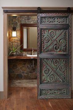 Double Sliding Doors, Interior Sliding Barn Doors, Wood Cabinet Doors, Wood Doors, Hm Deco, Wood Wall Art Decor, Exterior Front Doors, Rustic Barn, Barn Wood