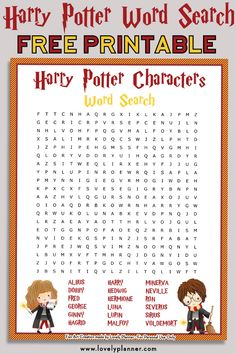 Free Printable Harry Potter Characters Word Search Puzzle, DIY and Crafts, Free printable Harry Potter Characters word search puzzle + solution sheet. Use it as a Harry Potter party activity, party favor or for your own enjoy.