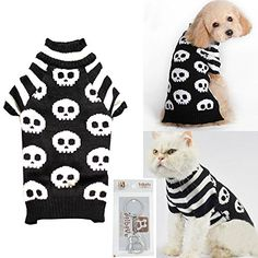 Bolbove Pet Skull Cable Knit Turtleneck Sweater for Small Dogs  Cats Skeleton Knitwear Cold Weather Outfit Small Black -- For more information, visit image link.