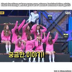 """awkwardly Jungkook behind Lovelyz"" hahahaha Kookie with UB girl group omo~~~"